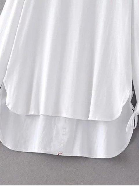 ladies Tie Sleeve High Low Hem Tee - WHITE L Mobile