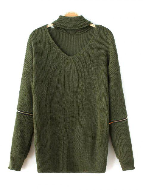 outfit Zip Sleeve Choker Neck Sweater - GREEN ONE SIZE Mobile