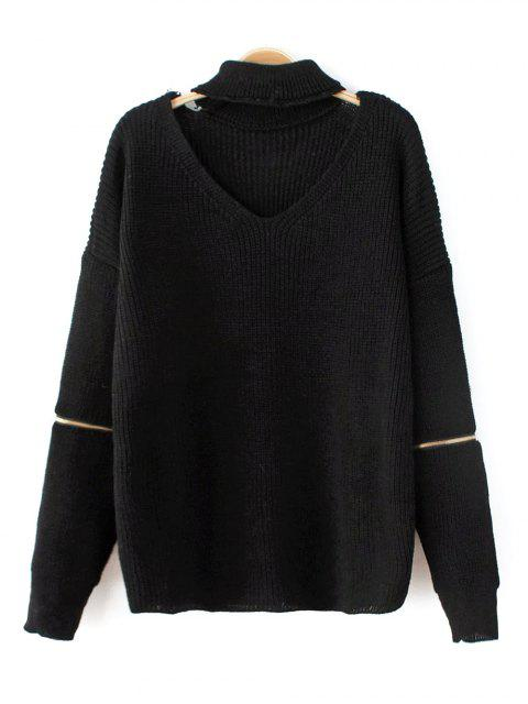 outfits Zip Sleeve Choker Neck Sweater - BLACK ONE SIZE Mobile
