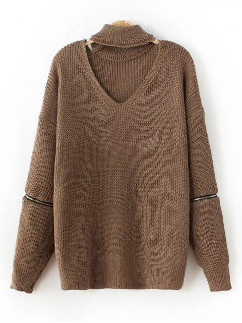 shop Zip Sleeve Choker Neck Sweater - DARK KHAKI ONE SIZE Mobile