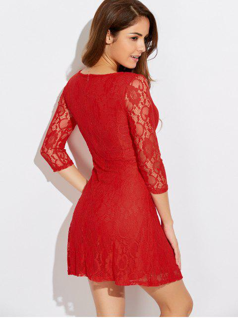 trendy Short Lace Dress With Sleeves - JACINTH S Mobile