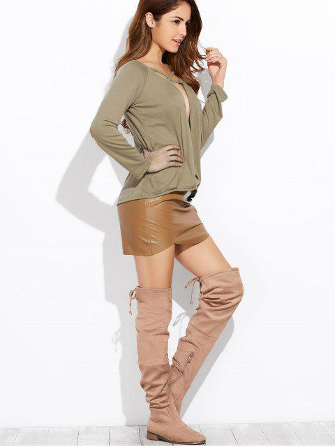 lady Plunging Neck Long Sleeve Crossover Top - ARMY GREEN XL Mobile