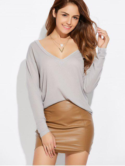 affordable Loose Casual Knitwear - GRAY XL Mobile