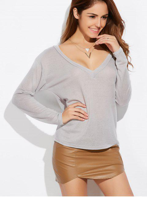 women Loose Casual Knitwear - GRAY S Mobile