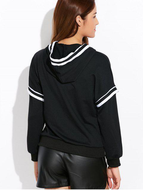chic String Striped Hoodie - BLACK L Mobile