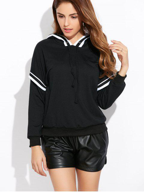 chic String Striped Hoodie - BLACK L Mobile