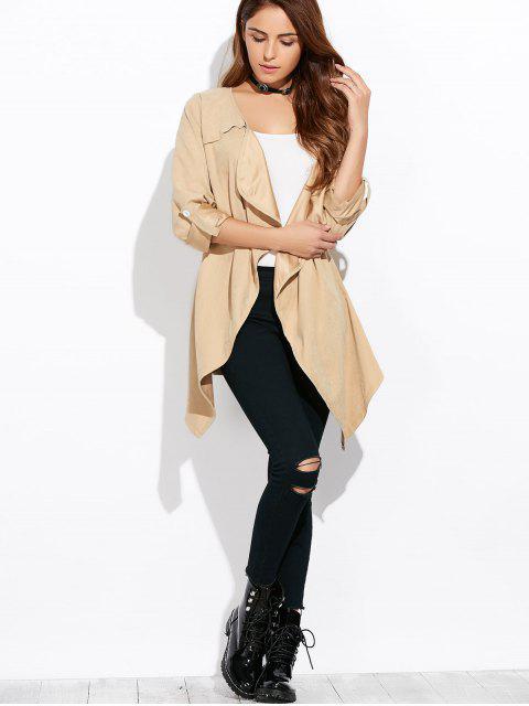 chic Drape Front Coat - LIGHT KHAKI XL Mobile