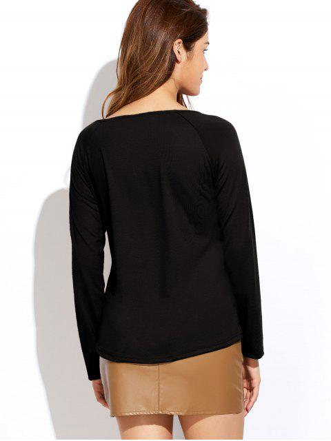 shop Plunging Neck Long Sleeve Crossover Top - BLACK S Mobile