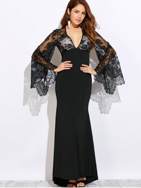 shops Plunge Neck Cutout Lace Panel Maxi Evening Dress - BLACK M Mobile