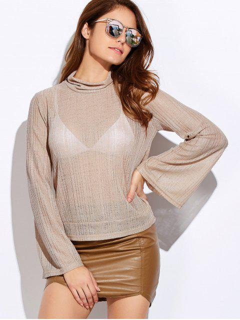online Back Cut Out Lace Up Turtle Neck Knitwear - OFF-WHITE M Mobile