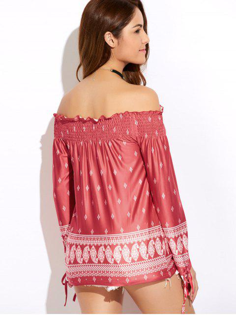 affordable Printed Off The Shoulder Top - RED M Mobile