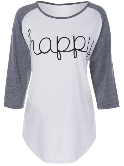 shop Color Block Happy T Shirt - WHITE M Mobile