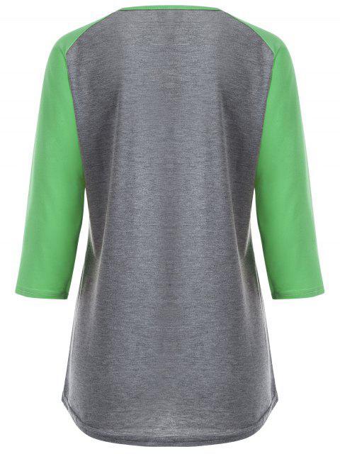 women Color Block Happy T Shirt - GREY + FLUORESCENT GREEN M Mobile