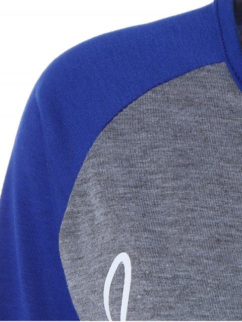 outfit Color Block Happy T Shirt - BLUE+GRAY 3XL Mobile