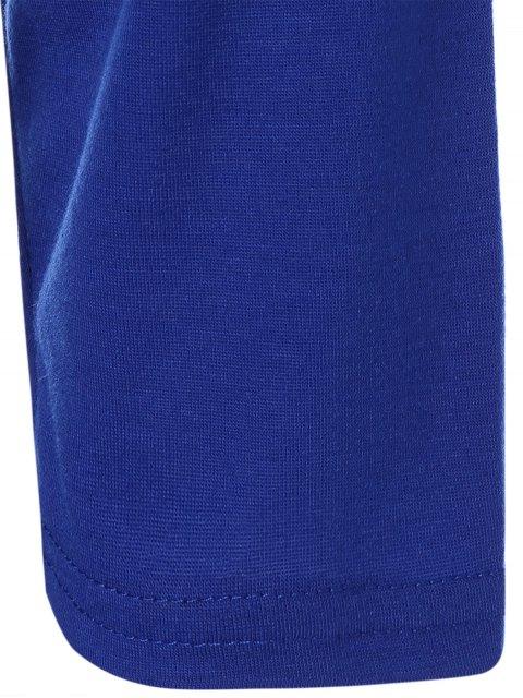 shop Color Block Happy T Shirt - BLUE+GRAY XL Mobile