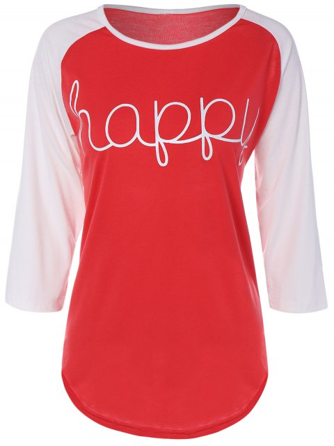 T-shirt color block imprimé lettres - Rouge 3XL Mobile