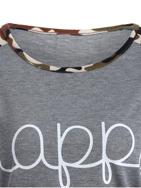chic Camo Print Happy Graphic T-Shirt - GRAY S Mobile
