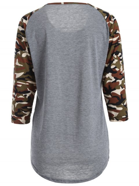 T-shirt «Happy» avec manches camouflage - Gris 2XL Mobile