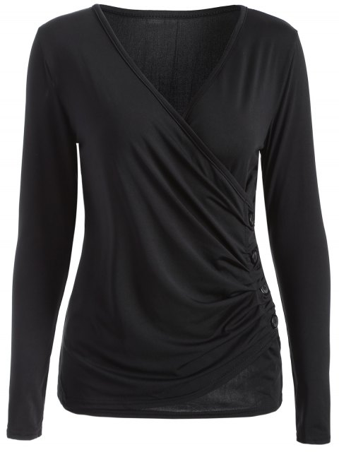 women's Buttons Runched Surplice T-Shirt - BLACK S Mobile
