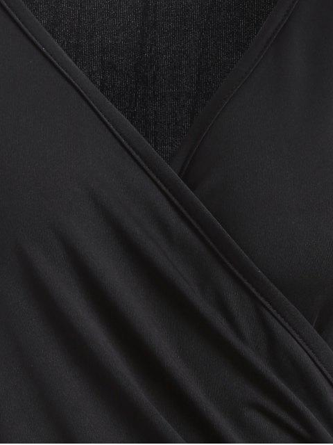 buy Buttons Runched Surplice T-Shirt - BLACK XL Mobile