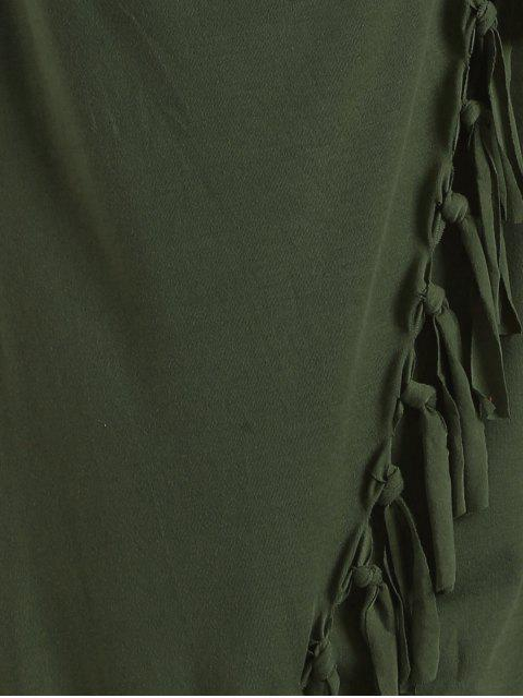 lady Tassels Side Button Cape - ARMY GREEN 2XL Mobile