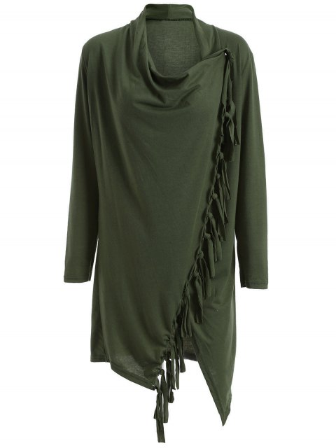 ladies Tassels Side Button Cape - ARMY GREEN 3XL Mobile