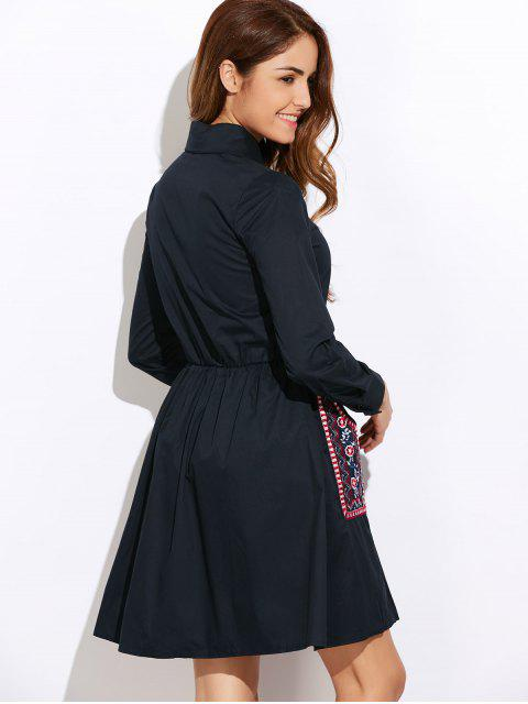 ladies Long Sleeve Embroidered Shirt Dress wit Pocket - CADETBLUE S Mobile