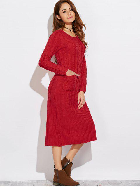 sale Cable Knit Back Slit Sweater Dress - RED ONE SIZE Mobile