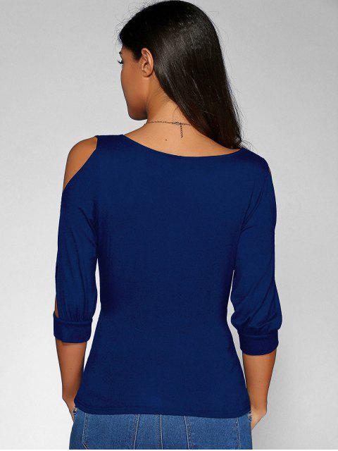 sale Cold Shoulder V Neck Top - DEEP BLUE M Mobile