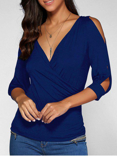 unique Cold Shoulder V Neck Top - DEEP BLUE L Mobile