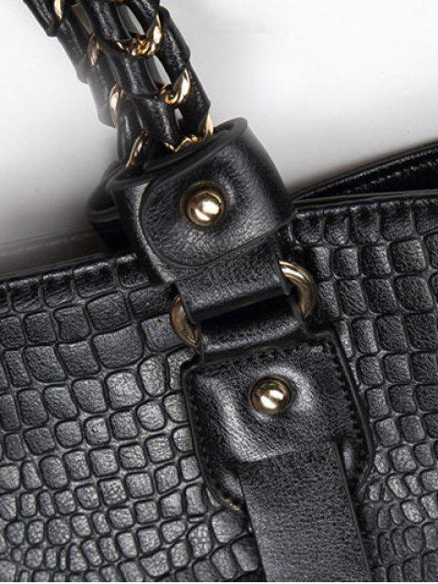 women Embossing Chain PU Leather Shoulder Bag - BLACK  Mobile