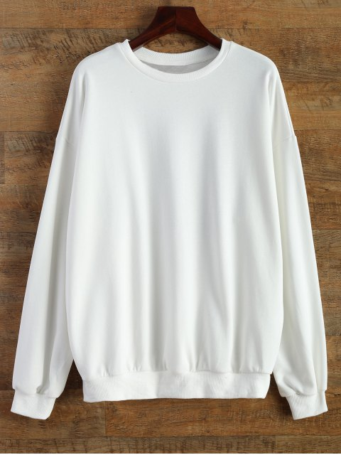 trendy Sports Letter Sweatshirt - WHITE ONE SIZE Mobile