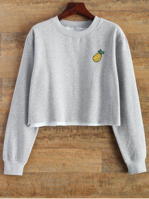 trendy Raw Hem Cropped Sweatshirt - GRAY L Mobile