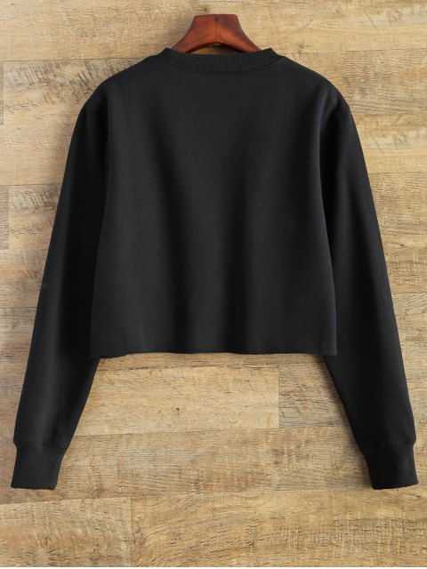 shop Rainbow Embroidered Cropped Sweatshirt - BLACK M Mobile