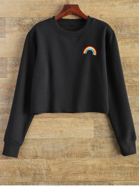 shops Rainbow Embroidered Cropped Sweatshirt - BLACK S Mobile