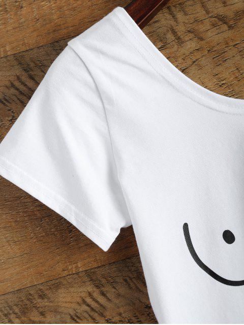 sale Tits Print Funny Jersey Crop Top - WHITE L Mobile