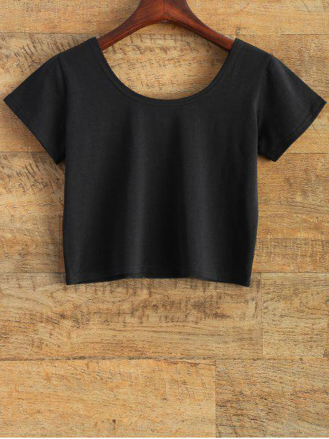 ladies Tits Print Funny Jersey Crop Top - BLACK S Mobile