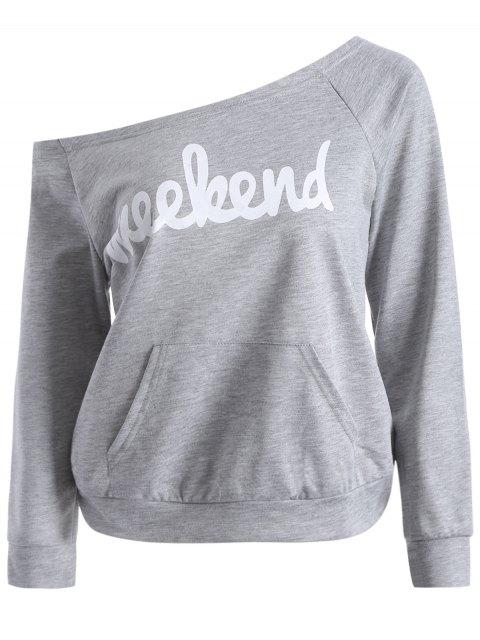 affordable Weekend Sweatshirt - GRAY XL Mobile