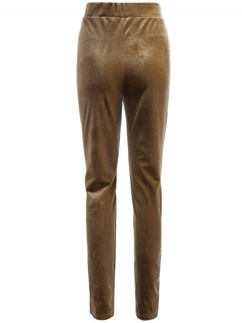 shop Slimming Metallic Color Leggings - LIGHT COFFEE S Mobile
