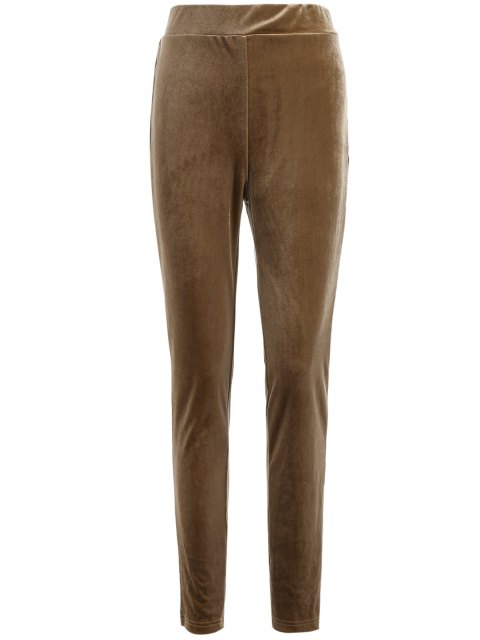 shop Slimming Metallic Color Leggings - LIGHT COFFEE S Mobile
