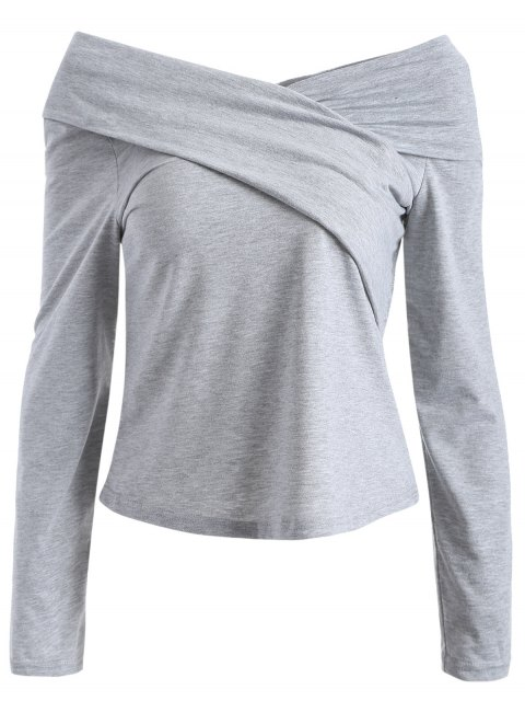 T-Shirt à encolure de surplis en V et manches longues - Gris L Mobile