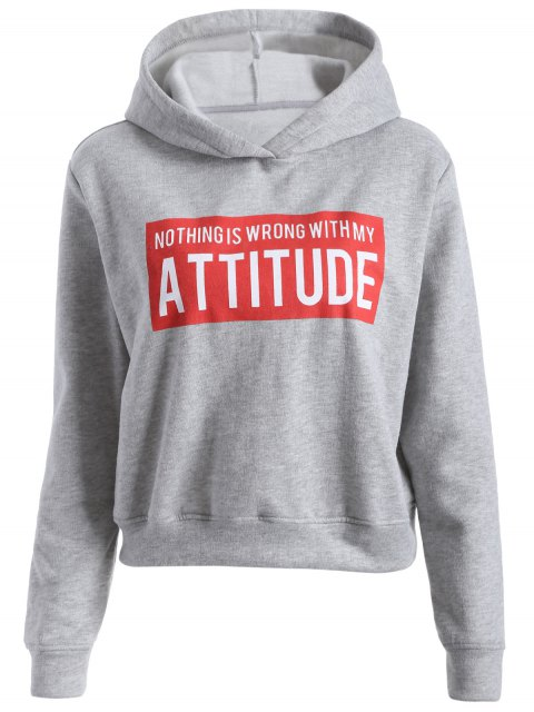 sale Letter Print Sports Hoodie - GRAY XL Mobile