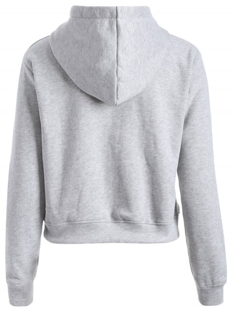 womens Letter Print Sports Hoodie - GRAY S Mobile