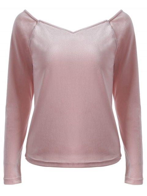 chic V Neck Slimming T-Shirt - PINK L Mobile