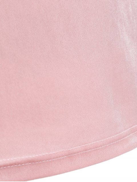 fancy V Neck Slimming T-Shirt - PINK M Mobile
