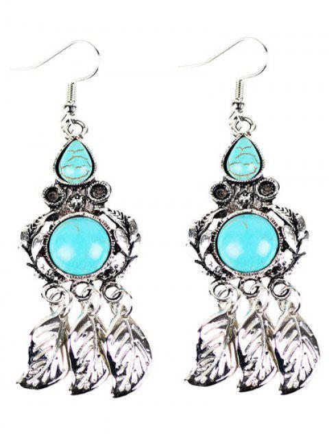 Boucles d'oreilles avec turquoises artificielles à style bohémien chandelier - Argent  Mobile