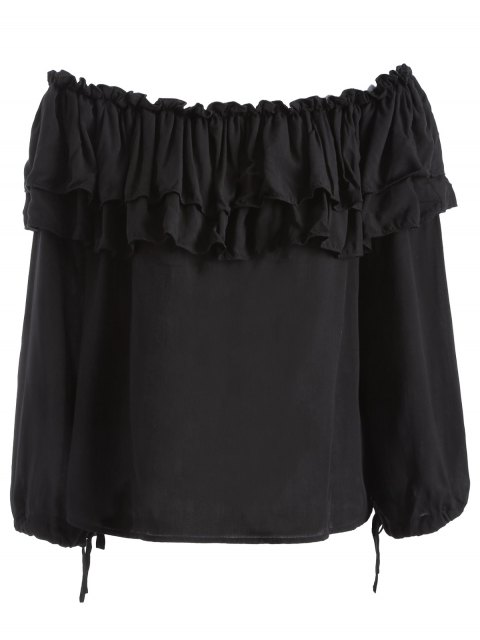 outfit Flounce Ruffles Off The Shoulder Blouse - BLACK XL Mobile