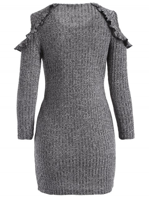 shop Cold Shoulder Bodycon Sweater Dress - GRAY XL Mobile