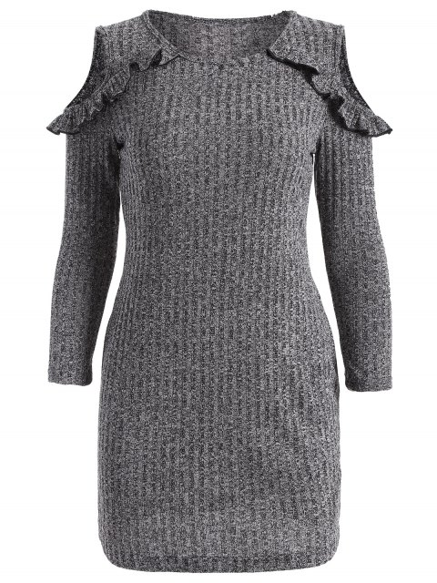 trendy Cold Shoulder Bodycon Sweater Dress - GRAY S Mobile