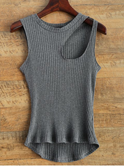 trendy Cut Out Asymmetric Tank Top - GRAY M Mobile